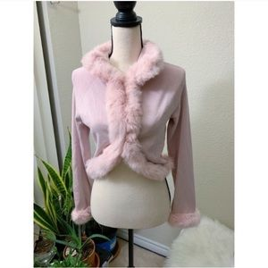 Baby Pink Pandemonium Fur Lined Crop Sweater M